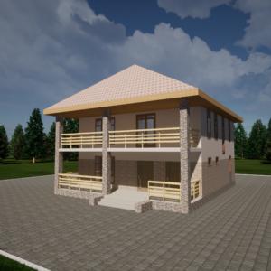 Двухэтажный монолитный коттедж 184м2