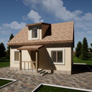 Одноэтажный коттедж с Мансардной 100м2