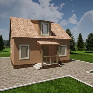 Одноэтажный дом с мансардой 106м2